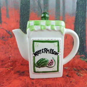 "Other - Ceramic Watermelon Themed Checkered Teapot 7"" Home"